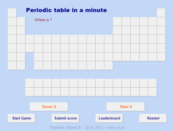 Chemistry i call this periodic minute but that isnt the games name the name is called periodic table and it will test your knowledge of the chemical elements in a urtaz Choice Image